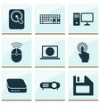 digital icons set with touchscreen pc mini pc vector image vector image