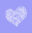 doodle hand drawn heart on violet background vector image vector image