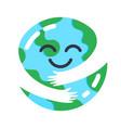 earth caring cute planet mascot hugs himself vector image