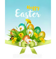 easter holiday background with colofrul eggs in vector image vector image
