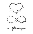 february - word with infinity symbol hand drawn vector image vector image