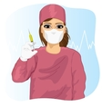 Female doctor in face mask holding a syringe vector image vector image