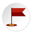 Flag in GPS icon flat style vector image