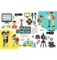 flat mass media infographic template vector image vector image