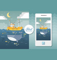 flat seascape with boat and whale flat vector image