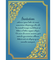 Gold ornamental card with antique luxury blue and vector image vector image