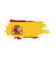 grunge brush stroke with spain national flag vector image