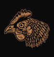 head chicken in engraving style design element vector image vector image