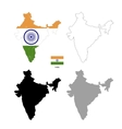 india country black silhouette and with flag vector image vector image