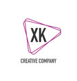 initial letter xk triangle design logo concept vector image vector image