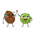 Kiwi Cute fruit character couple isolated vector image vector image