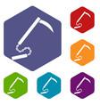 kusarigama icons set hexagon vector image vector image