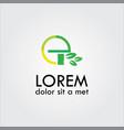 letter e organic green leaf logo vector image vector image
