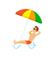 man wearing shorts and glasses sunbathing vector image vector image