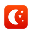 moon and stars icon digital red vector image vector image