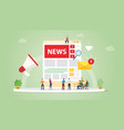 news update concept with team people and website vector image vector image