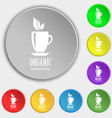 Organic natural tea icon sign Symbol on eight flat vector image
