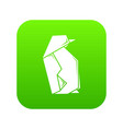 origami penguin icon green vector image