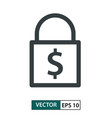 padlock icon with dollar symbol line style vector image