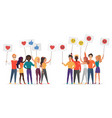 people holding emoji emotions posters flat vector image