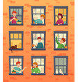 people in windows frames communicating neighbors vector image vector image