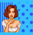 pop art of a sexy girl holding vector image vector image