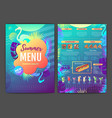 restaurant summer tropical gradient menu design vector image