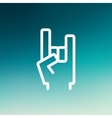 Rock hand thin line icon vector image vector image