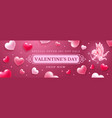 sale at valentines day banner with cupid and vector image