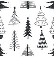 seamless pattern with various christmas trees vector image