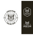 set cool owl head logo icon with lineart logo vector image