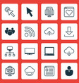 set of 16 world wide web icons includes computer vector image vector image