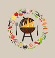 set of barbecue objects vector image