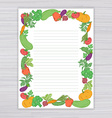 sheet with vegetable frame on wooden backdrop vector image vector image
