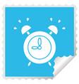 square peeling sticker cartoon ringing alarm clock vector image vector image