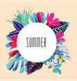 summer floral round print vector image vector image