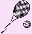 Tennis racket ball vector image vector image