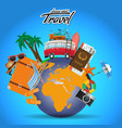 travel and tour poster design around the world vector image vector image
