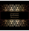 Vintage gold invitation or wedding card on black vector image vector image