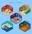 weekdays of housewife isometric compositions vector image vector image