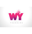 wy w y letter logo with pink purple color and vector image vector image