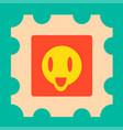 funny yellow cartoon face with open mouth vector image