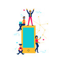 people online using phone for social media app vector image