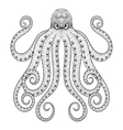 zentangle octopus print for adult coloring vector image