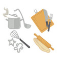 cooking kitchenware utensils and baking cutlery vector image