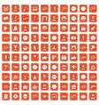 100 emotion icons set grunge orange vector image vector image