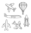 Airplanes space shuttle hot air balloon sketches vector image