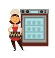 baker woman in bakery shop baking bread in oven vector image vector image