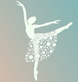 ballerina dancing white silhouette isolated vector image vector image
