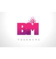 bm b m letter logo with pink purple color and vector image